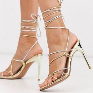 ASOS Wrap-Tie Metallic Heels
